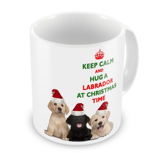 Christmas Keep Calm And Hug A Labrador Novelty Gift Mug